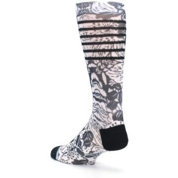 Image of Black White Floral Pattern Men's Casual Socks (side-2-back-15)