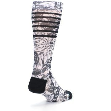 Image of Black White Floral Pattern Men's Casual Socks (side-1-back-21)