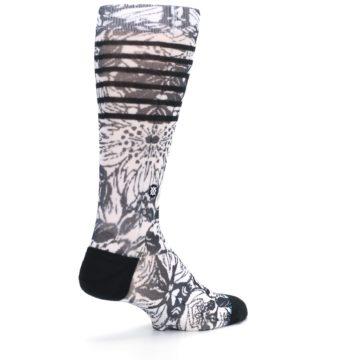 Image of Black White Floral Pattern Men's Casual Socks (side-1-back-22)