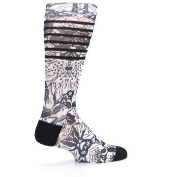 Image of Black White Floral Pattern Men's Casual Socks (side-1-23)