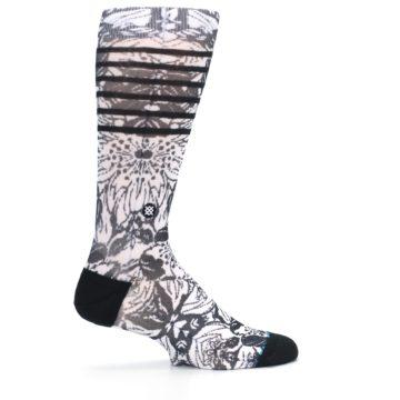Image of Black White Floral Pattern Men's Casual Socks (side-1-24)