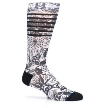 Image of Black White Floral Pattern Men's Casual Socks (side-1-25)
