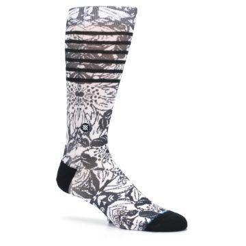 Image of Black White Floral Pattern Men's Casual Socks (side-1-26)