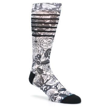 Image of Black White Floral Pattern Men's Casual Socks (side-1-27)