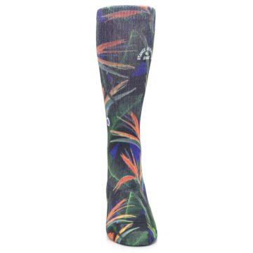 Image of Green Blue Orange Floral Men's Casual Socks (front-04)