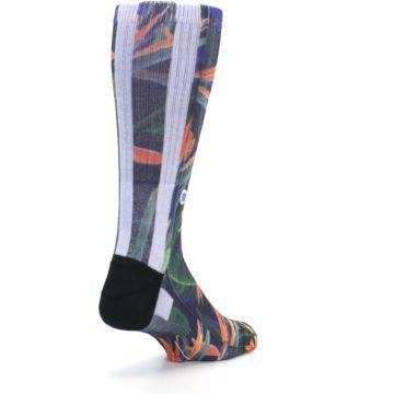 Image of Green Blue Orange Floral Men's Casual Socks (side-1-back-21)
