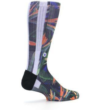 Image of Green Blue Orange Floral Men's Casual Socks (side-1-23)
