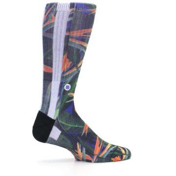 Image of Green Blue Orange Floral Men's Casual Socks (side-1-24)