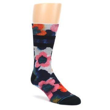 Navy-Orange-Pink-Floral-Mens-Casual-Socks-STANCE