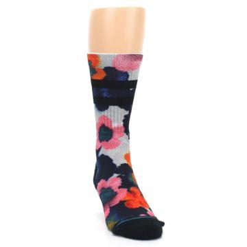 Image of Navy Orange Pink Floral Men's Casual Socks (side-1-front-03)