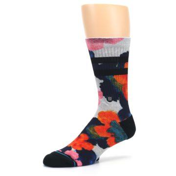 Image of Navy Orange Pink Floral Men's Casual Socks (side-2-09)