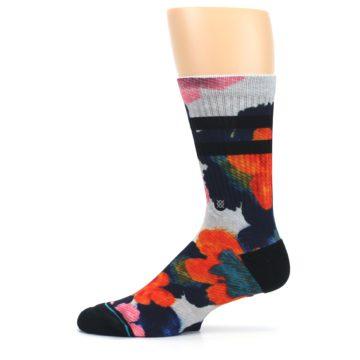Image of Navy Orange Pink Floral Men's Casual Socks (side-2-11)