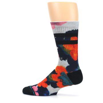 Image of Navy Orange Pink Floral Men's Casual Socks (side-2-12)