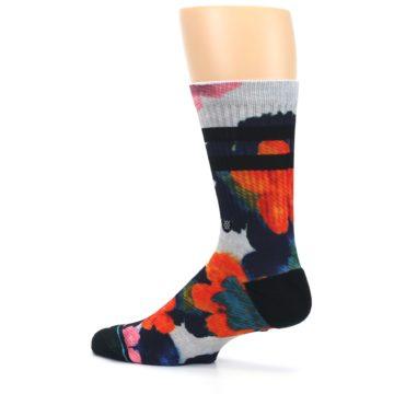 Image of Navy Orange Pink Floral Men's Casual Socks (side-2-13)