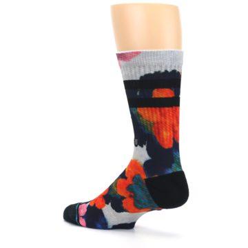 Image of Navy Orange Pink Floral Men's Casual Socks (side-2-back-14)
