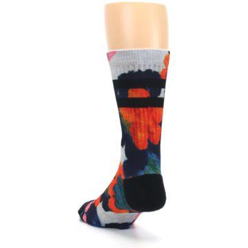 Image of Navy Orange Pink Floral Men's Casual Socks (side-2-back-16)