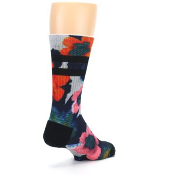 Image of Navy Orange Pink Floral Men's Casual Socks (side-1-back-21)