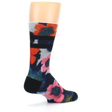 Image of Navy Orange Pink Floral Men's Casual Socks (side-1-back-22)