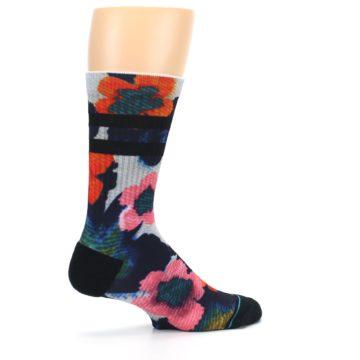 Image of Navy Orange Pink Floral Men's Casual Socks (side-1-23)