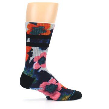 Image of Navy Orange Pink Floral Men's Casual Socks (side-1-24)