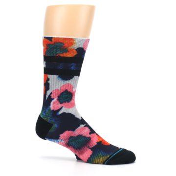 Image of Navy Orange Pink Floral Men's Casual Socks (side-1-25)