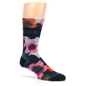 Image of Navy Orange Pink Floral Men's Casual Socks (side-1-26)