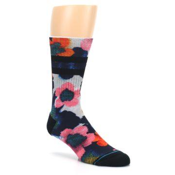 Image of Navy Orange Pink Floral Men's Casual Socks (side-1-27)