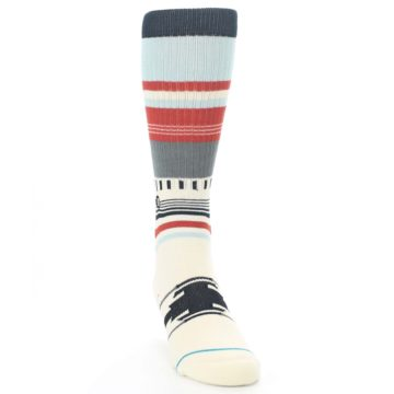 Image of Cream Orange Blue Tribal Pattern Men's Casual Socks (side-1-front-03)