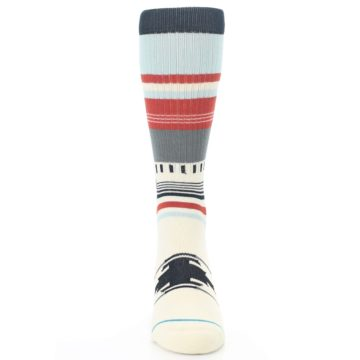 Image of Cream Orange Blue Tribal Pattern Men's Casual Socks (front-04)
