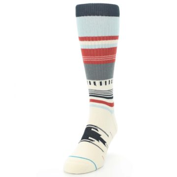 Image of Cream Orange Blue Tribal Pattern Men's Casual Socks (side-2-front-06)