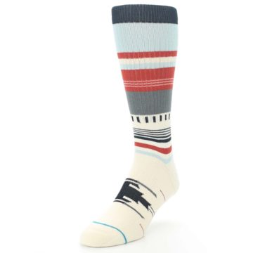 Image of Cream Orange Blue Tribal Pattern Men's Casual Socks (side-2-front-07)