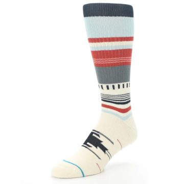 Image of Cream Orange Blue Tribal Pattern Men's Casual Socks (side-2-front-08)