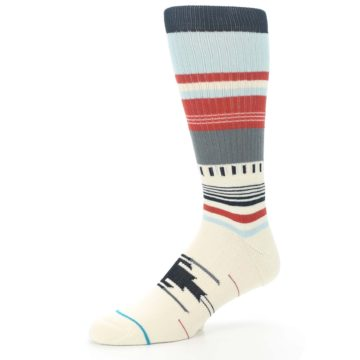 Image of Cream Orange Blue Tribal Pattern Men's Casual Socks (side-2-09)