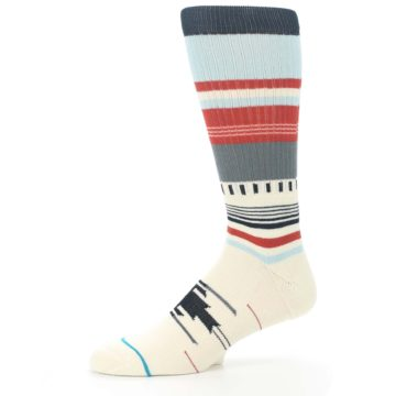 Image of Cream Orange Blue Tribal Pattern Men's Casual Socks (side-2-10)