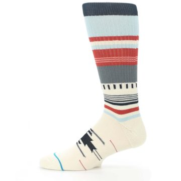 Image of Cream Orange Blue Tribal Pattern Men's Casual Socks (side-2-11)