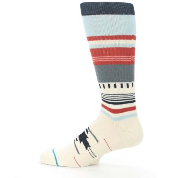 Image of Cream Orange Blue Tribal Pattern Men's Casual Socks (side-2-12)