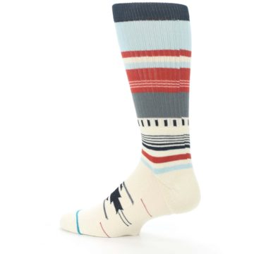 Image of Cream Orange Blue Tribal Pattern Men's Casual Socks (side-2-13)