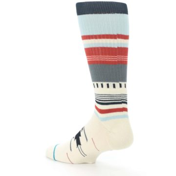 Image of Cream Orange Blue Tribal Pattern Men's Casual Socks (side-2-back-14)
