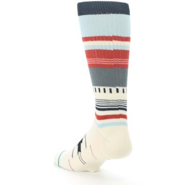 Image of Cream Orange Blue Tribal Pattern Men's Casual Socks (side-2-back-15)