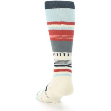 Image of Cream Orange Blue Tribal Pattern Men's Casual Socks (side-2-back-16)