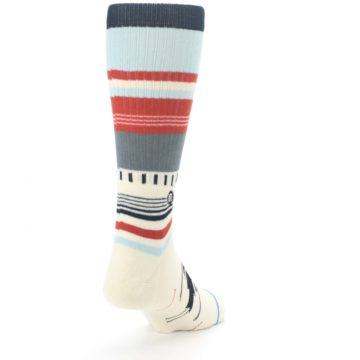 Image of Cream Orange Blue Tribal Pattern Men's Casual Socks (side-1-back-20)