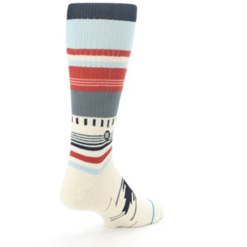 Image of Cream Orange Blue Tribal Pattern Men's Casual Socks (side-1-back-21)