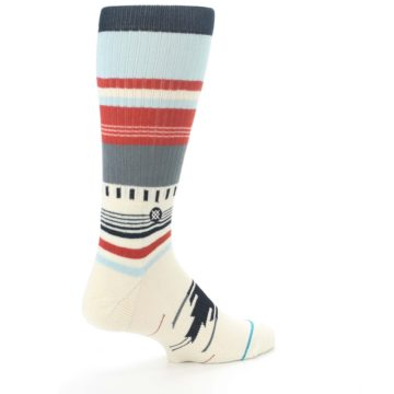 Image of Cream Orange Blue Tribal Pattern Men's Casual Socks (side-1-back-22)