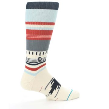 Image of Cream Orange Blue Tribal Pattern Men's Casual Socks (side-1-23)