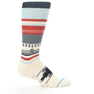 Image of Cream Orange Blue Tribal Pattern Men's Casual Socks (side-1-24)