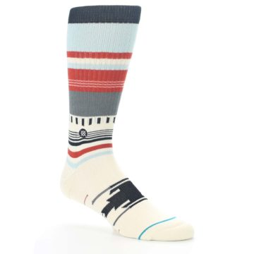 Image of Cream Orange Blue Tribal Pattern Men's Casual Socks (side-1-26)
