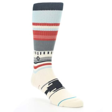 Image of Cream Orange Blue Tribal Pattern Men's Casual Socks (side-1-27)