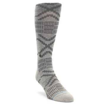 Image of Gray Coffee Dyed Pattern Men's Casual Socks (side-1-front-02)