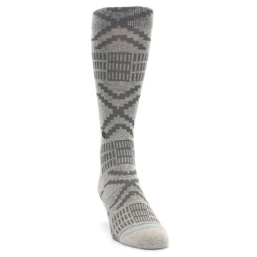 Image of Gray Coffee Dyed Pattern Men's Casual Socks (side-1-front-03)