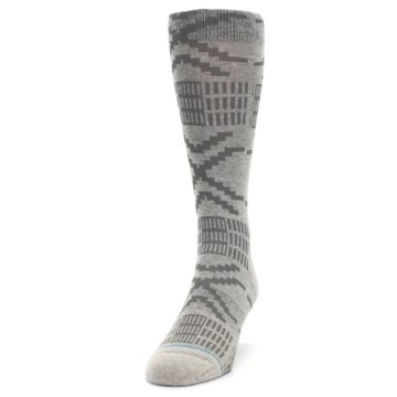 Image of Gray Coffee Dyed Pattern Men's Casual Socks (side-2-front-06)